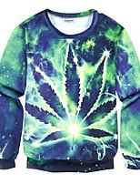 Sweatshirt Pour des hommes A Motifs Décontracté / Grandes Tailles Polyester Manches longues Vert
