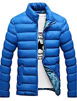 Men's Regular Padded Coat,Simple Plus Size Solid-Polyester Polypropylene Long Sleeve Hooded Blue / Red / Black