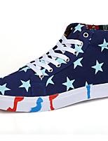 יוניסקס-נעלי ספורט-קנבס-נוחות-כחול לבן-יומיומי ספורט-עקב שטוח