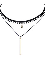 Punk Fashion Jewelry Simple Vertical  Golden Bar and Bell Pendant Multilayer Elastic Black Lace Tattoo Choker Necklace