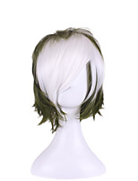 Japanese Cosplay Men's Hairstyle Shaggy Green White Mixed Color Anime Wigs Harajuku Style
