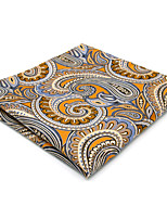 Mens Pocket Square Handkerchief Hanky Orange Paisley For Men 100% Silk Business