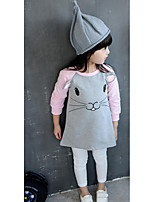 Girl's Casual/Daily Print DressCotton Spring / Fall White / Gray