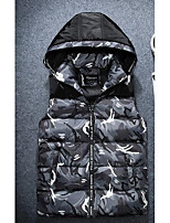 Men's Down Coat,Simple Plus Size / Casual/Daily Print-Polyester Without Filling Material Sleeveless Red / Gray / Green