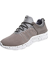 Men's Athletic Shoes Spring Fall Comfort PU Athletic Flat Heel Lace-up Black Red Gray Running