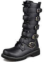 Men's Boots Motorcycle Boots Combat Boots Fall Winter Synthetic Microfiber PU Casual Party & Evening Black 1in-1 3/4in