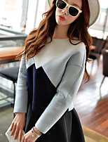 Women's Going out / Daily / Sports Vintage / Active / Punk & Gothic Short HoodiesColor Block Round Neck Long Sleeve