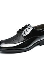 Черный / Коричневый-Мужской-На каждый день-Кожа-На низком каблуке-Удобная обувь-Туфли на шнуровке