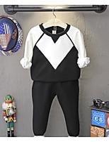 Pull à capuche & Sweatshirt / Pantalons Boy Couleur Pleine Décontracté / Quotidien Coton Printemps / Automne Noir / Blanc