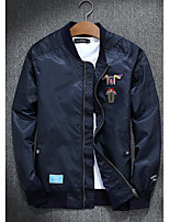 Men's Casual/Daily Simple Jackets,Print Stand Long Sleeve Fall Blue / Black / Green Polyester