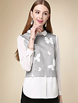 DOF Women's Casual/Daily Simple Fall BlouseSolid Shirt Collar Long Sleeve White Cotton Medium