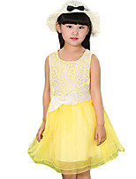 Girl's Going out Solid Dress,Cotton / Others Summer Pink / White / Yellow