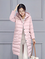Women's Long Down Coat/ Print-Cotton / Polyester Polyester / Cotton Long Sleeve Round Neck Pink / Black / Gray