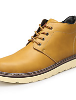 Men's Boots Fall Winter Other Leather Casual Flat Heel Lace-up Black Brown Yellow Other