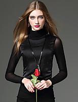 Tee-shirt Femme,Couleur Pleine / Mosaïque Travail / Sortie / Décontracté / Quotidien Sexy / Chic de Rue / Sophistiqué Automne / Hiver