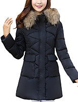 Women's Long Padded CoatStreet chic Thick Slim Plus Size / Casual/Daily Patchwork Long Sleeve Hooded