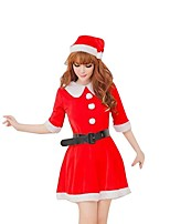 Christmas Costume  /Holiday Halloween Costumes Red Solid Skirt / Belt / Hats Christmas Female Pleuche