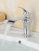 Contemporary / Modern Centerset Waterfall / Widespread / Pre Rinse with  Ceramic Valve Single Handle Two Holes for