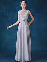 Serata formale Vestito Linea-A Con decorazione gioiello Lungo Chiffon con Fiocco (fiocchi) / Di pizzo