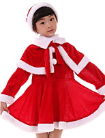Christmas Children 's Girls' Velvet Costumes Cosplay Cloak Long Sleeves Skirt Hat Red Suits