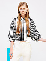 I'HAPPY Women's Going out Vintage Spring / Fall ShirtStriped Shirt Collar  Length Sleeve Black Rayon