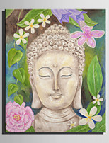 E-HOME Stretched Canvas Art Stone Buddha And Flowers Decoration Painting  One Pcs