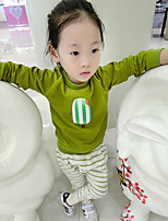 Girl's Casual/Daily Print Clothing SetCotton Fall Green / Red