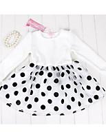 Vestido Chica de-Noche-Lunares-Algodón-Primavera / Otoño-Negro / Blanco