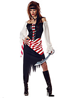 Cosplay Costumes / Headpiece Pirate Halloween Red / White / Blue Print Cotton Top / Skirt / Headpiece / Belt