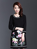AINIER Women's Casual/Daily Chinoiserie A Line DressJacquard Round Neck Above Knee  Sleeve Black Cotton / Polyester Spring / Fall Mid Rise