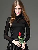 Tee-shirt Femme,Couleur Pleine / Mosaïque / Broderie Sortie / Décontracté / Quotidien / Travail Sexy / simple / Chic de RueAutomne /