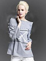 Tee-shirt Femme,Rayé Sortie Sexy Automne Manches Longues Bateau Gris Polyester / Spandex Moyen