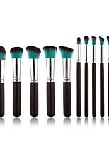 10 Makeup Brushes Set Synthetic Hair Professional / Portable Wood Face / Eye / Lip Black Handle And Blue Brush Hair