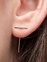 Women Fashionable Metal Earrings T Shape Strip Alloy Drop Earrings 1pair