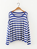 Women's Going out Simple Regular Pullover,Striped Blue / Black Round Neck Long Sleeve Cashmere / Polyester Fall Medium Micro-elastic