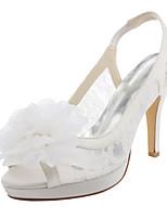 Damen-Sandalen-Hochzeit Kleid Party & Festivität-Stretch - Satin-Stöckelabsatz Plateau-Plateau-Elfenbein Weiß
