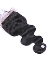 4x4 Inches Silk Base Brazilian Human Hair Lace Closure Free Part Natural Hairline Black Hair Body Wave Closure with Baby Hair