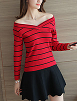 Women's Casual/Daily Cute Regular Pullover,Striped Red / White / Black / Gray V Neck Long Sleeve Polyester Fall / Winter Medium
