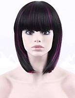 Short Straight Hair Wig with Bangs Dark Brown and Purple Color Synthetic Wigs for Women