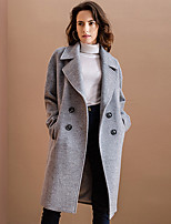 Women's Going out Cute Coat,Solid Notch Lapel Long Sleeve Winter Pink / Gray Wool / Polyester Medium