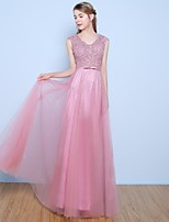Formal Evening Dress A-line V-neck Floor-length Lace / Tulle with Beading / Bow(s) / Pearl Detailing