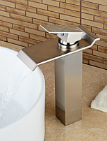 Contemporary Heightening Nickel Brushed Waterfall Bathroom Sink Faucets