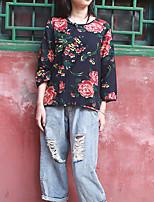 Chemise Femme,Fleur Décontracté / Quotidien Chinoiserie Printemps / Automne Manches Longues Col Arrondi Noir Coton / Lin Moyen