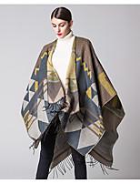 Women Acrylic ScarfVintage RectangleBlack / Blue / Yellow / Gray / OrangePatchwork