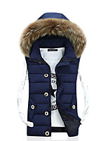 Men's Padded Coat,Street chic Plus Size Solid-Polyester Polypropylene Sleeveless Hooded Blue / Red / Beige / Black