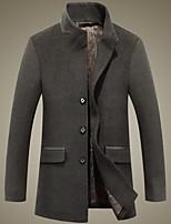 Men's Casual/Daily Simple Coat,Solid Long Sleeve Fall / Winter Blue / Gray Wool Medium