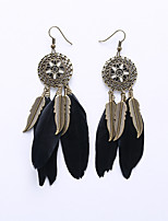 European And American Fashion Circle Card Eardrop Of Flowers Ethnic Customs Tassel Leaf Earrings Feather Earrings Long