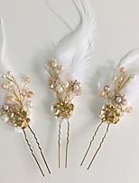 Vrouwen Veren / Bergkristal / Licht Metaal / Acryl Helm-Bruiloft / Speciale gelegenheden / Informeel Bloemen / Haarspeld 3-delig