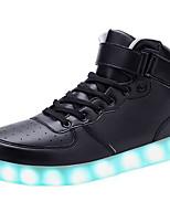 Черный Красный Белый-Унисекс-Для прогулок Повседневный Для занятий спортом-Кожа-На низком каблуке-Удобная обувь-Кеды
