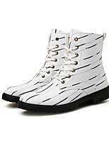 Men's Boots Fall / Winter Comfort PU Casual Low Heel Lace-up Black / White Others